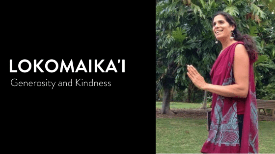 Photo of Kumu Jeana Iwalani Naluai wearing a kihei teaching Hawaiian wisdom of Lokomaika'i